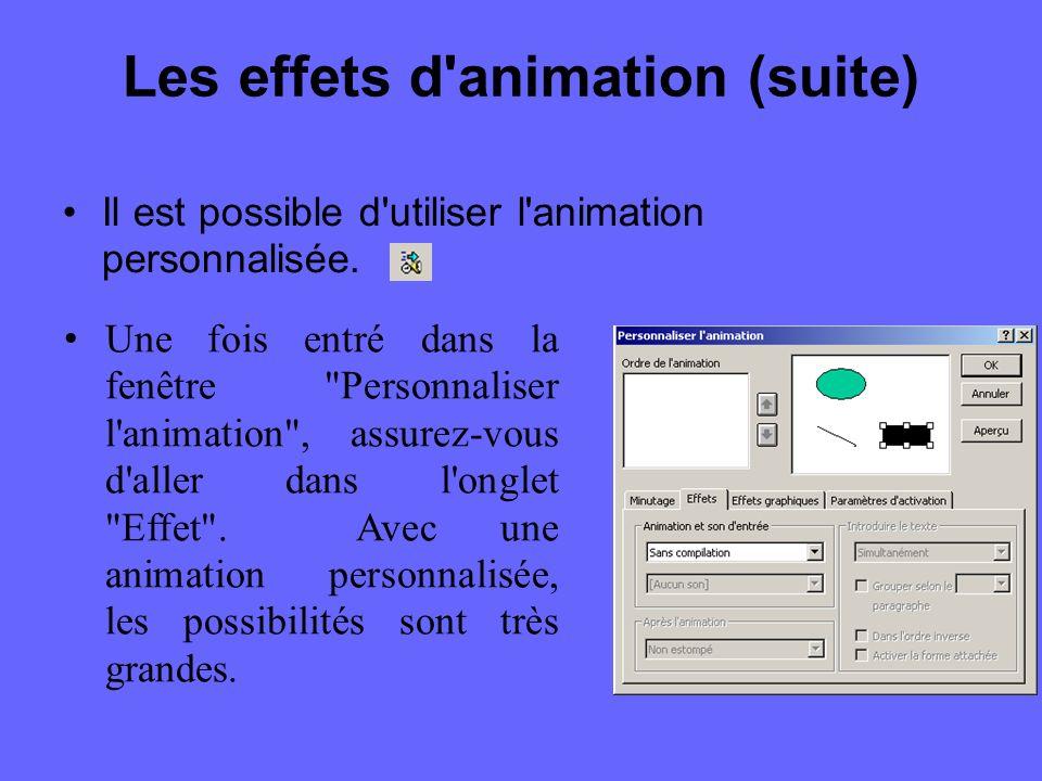 Les effets d animation (suite) PowerPoint vous propose différentes effets : l effet automobile l effet volant l effet appareil-photo l effet flash l effet de texte laser l effet de texte machine à écrire l effet goutte-à-goutte
