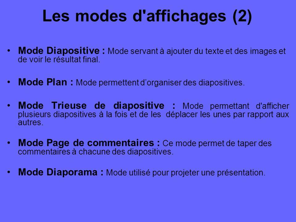 Les modes d affichages (1) Pour changer le mode d affichage de votre présentation, vous pouvez y accéder par le menu fichier.