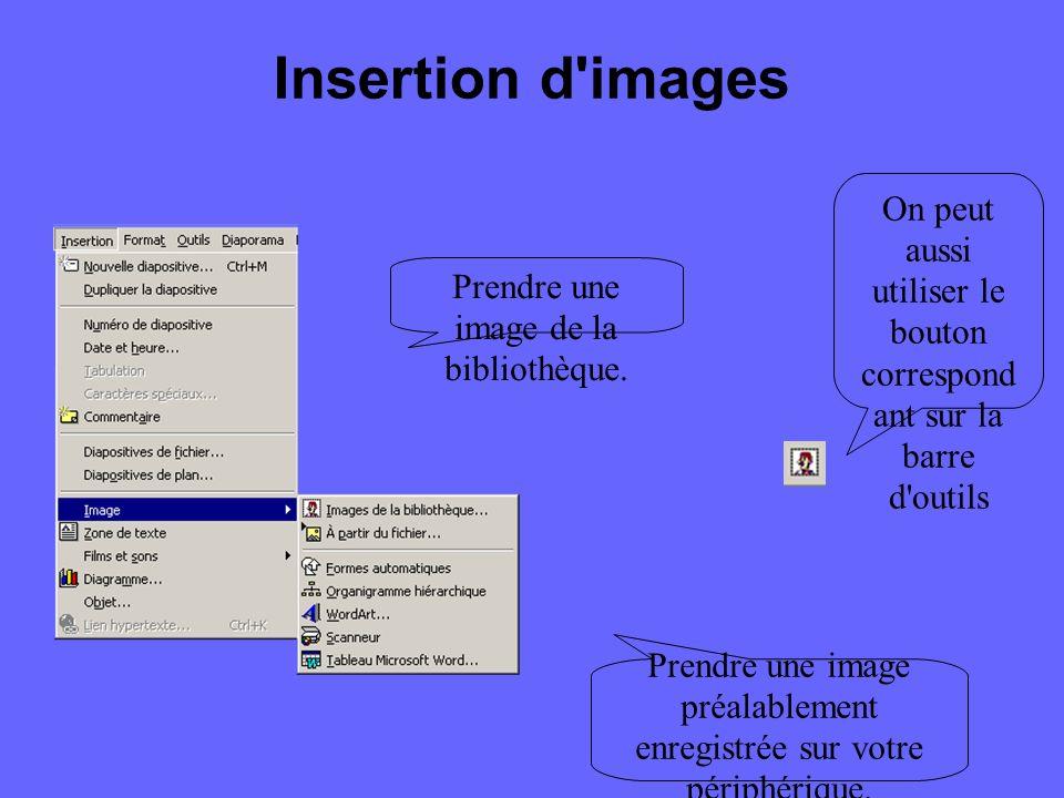 Insertion d une nouvelle diapositive Pour insérer une nouvelle diapositive, vous pouvez y aller de 2 façons : Commande Nouvelle diapositive dans le menu Insertion Bouton sur la barre d outils standard