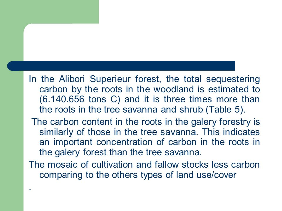 In the Alibori Superieur forest, the total sequestering carbon by the roots in the woodland is estimated to (6.140.656 tons C) and it is three times m
