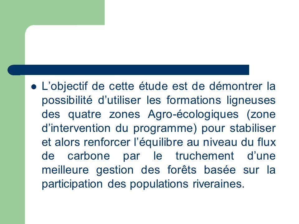 Lobjectif de cette étude est de démontrer la possibilité dutiliser les formations ligneuses des quatre zones Agro-écologiques (zone dintervention du programme) pour stabiliser et alors renforcer léquilibre au niveau du flux de carbone par le truchement dune meilleure gestion des forêts basée sur la participation des populations riveraines.
