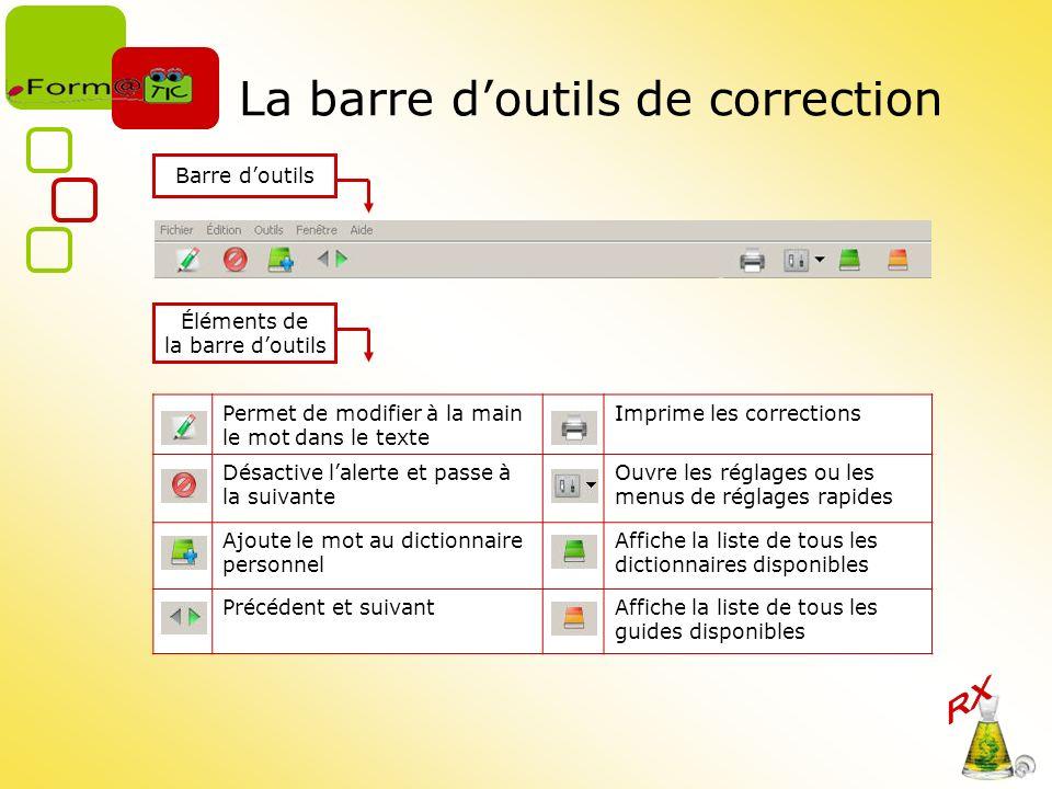 La barre doutils de correction Barre doutils Éléments de la barre doutils Permet de modifier à la main le mot dans le texte Imprime les corrections Dé