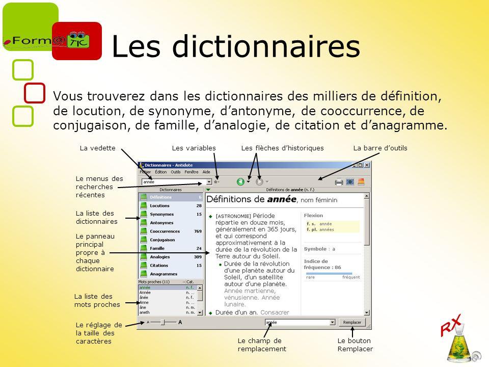Les dictionnaires Vous trouverez dans les dictionnaires des milliers de définition, de locution, de synonyme, dantonyme, de cooccurrence, de conjugaison, de famille, danalogie, de citation et danagramme.
