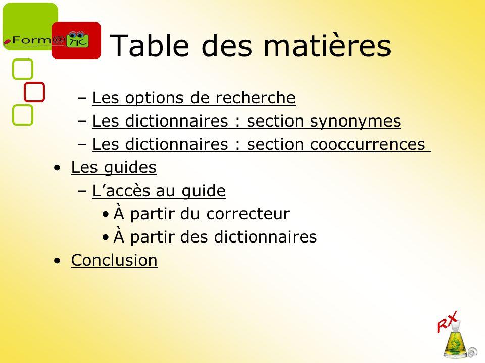 Table des matières –Les options de rechercheLes options de recherche –Les dictionnaires : section synonymesLes dictionnaires : section synonymes –Les