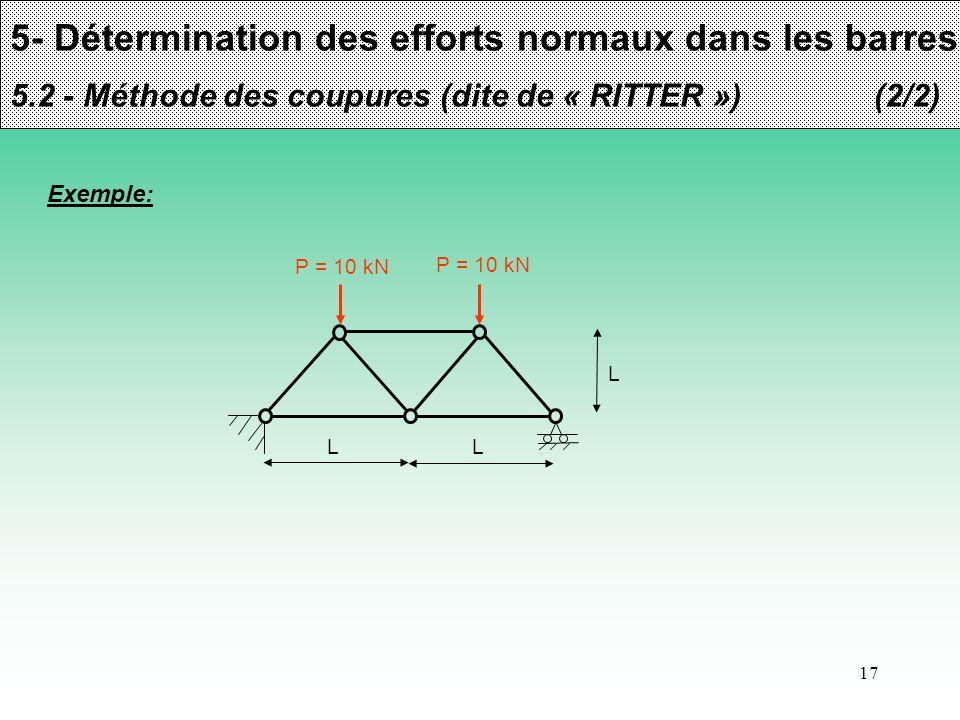 17 5- Détermination des efforts normaux dans les barres 5.2 - Méthode des coupures (dite de « RITTER »)(2/2) Exemple: P = 10 kN L L L