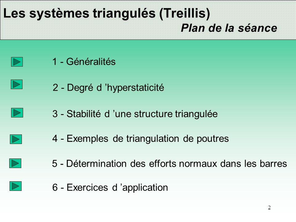 2 Les systèmes triangulés (Treillis) Plan de la séance 1 - Généralités 2 - Degré d hyperstaticité 3 - Stabilité d une structure triangulée 4 - Exemple