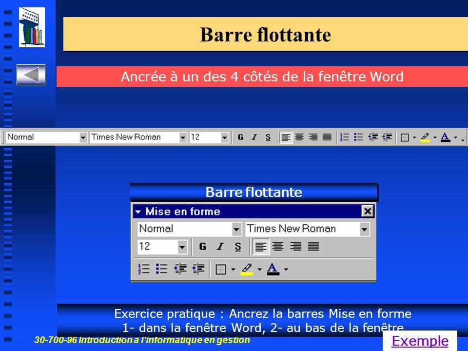 30-700-96 Introduction à linformatique en gestion 11 Barre flottante Ancrée à un des 4 côtés de la fenêtre Word Barre flottante Exercice pratique : Ancrez la barres Mise en forme 1- dans la fenêtre Word, 2- au bas de la fenêtre Exemple