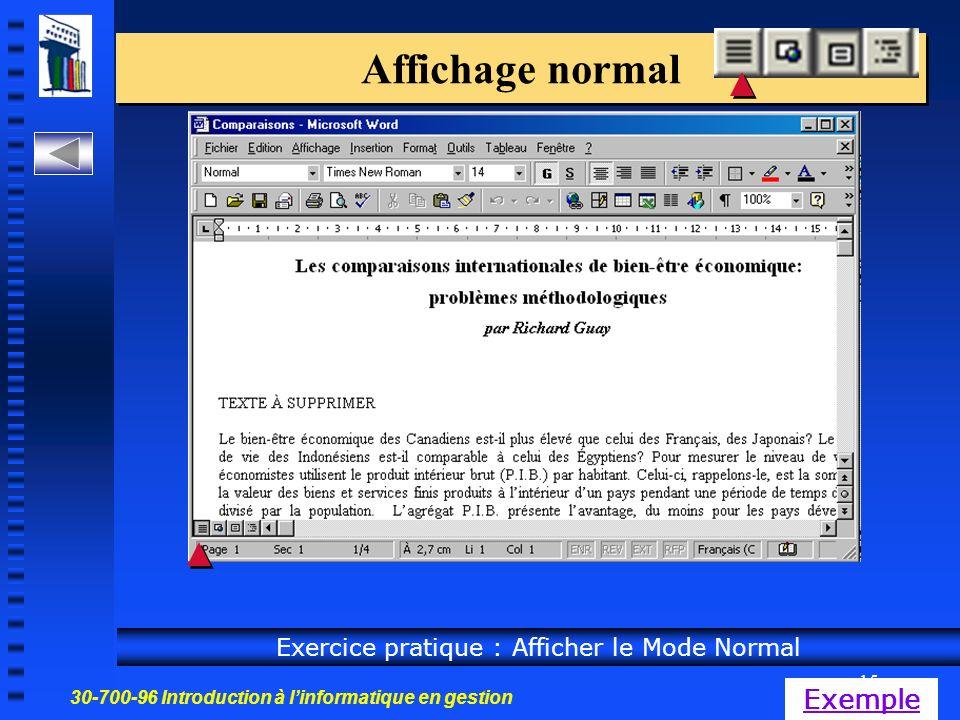 30-700-96 Introduction à linformatique en gestion 15 Affichage normal Exercice pratique : Afficher le Mode Normal Exemple