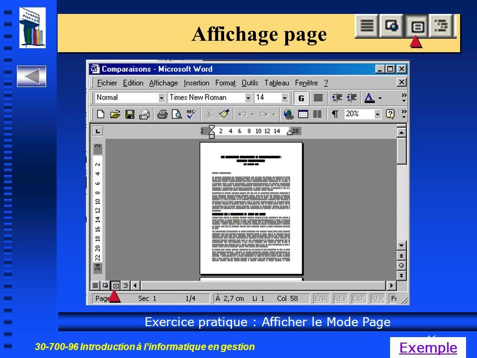 30-700-96 Introduction à linformatique en gestion 16 Affichage page Exercice pratique : Afficher le Mode Page Exemple