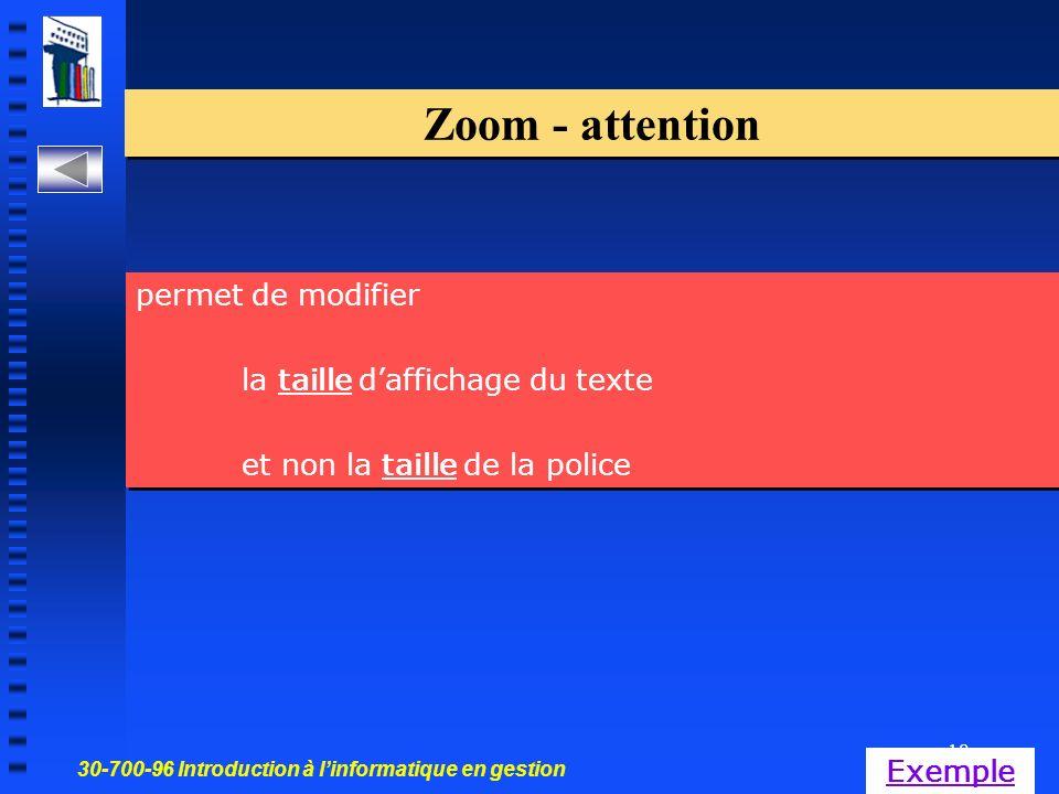 30-700-96 Introduction à linformatique en gestion 18 Zoom - attention permet de modifier la taille daffichage du texte et non la taille de la police permet de modifier la taille daffichage du texte et non la taille de la police Exemple