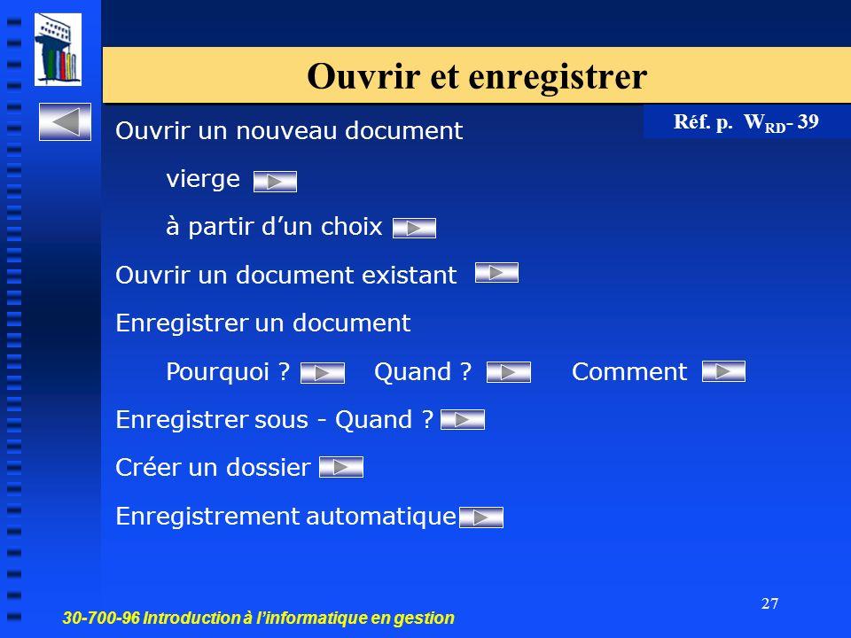 30-700-96 Introduction à linformatique en gestion 27 Ouvrir et enregistrer Ouvrir un nouveau document vierge à partir dun choix Ouvrir un document existant Enregistrer un document Pourquoi .