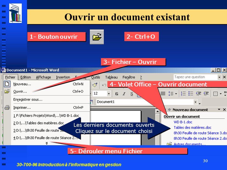 30-700-96 Introduction à linformatique en gestion 30 1- Bouton ouvrir Ouvrir un document existant 4- Volet Office – Ouvrir document 2- Ctrl+O 5- Dérouler menu Fichier 3- Fichier – Ouvrir Les derniers documents ouverts Cliquez sur le document choisi