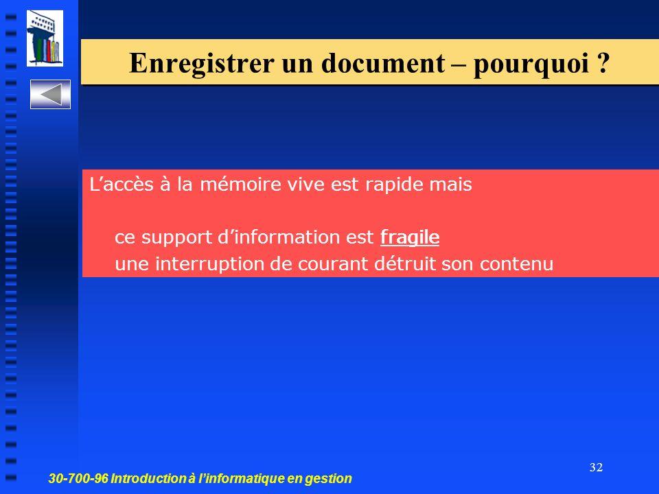 30-700-96 Introduction à linformatique en gestion 32 Enregistrer un document – pourquoi .