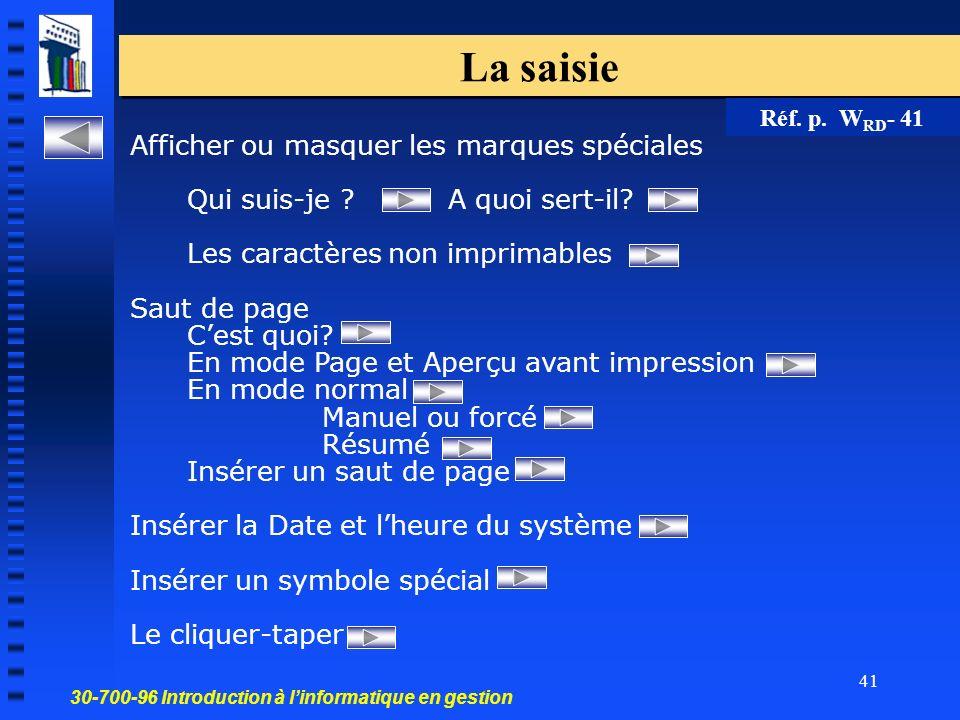 30-700-96 Introduction à linformatique en gestion 41 La saisie Afficher ou masquer les marques spéciales Qui suis-je .