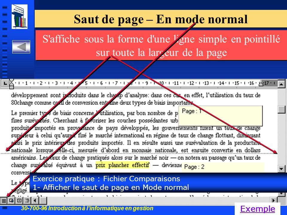 30-700-96 Introduction à linformatique en gestion 47 Saut de page – En mode normal S affiche sous la forme d une ligne simple en pointillé sur toute la largeur de la page Exercice pratique : Fichier Comparaisons 1- Afficher le saut de page en Mode normal Exemple
