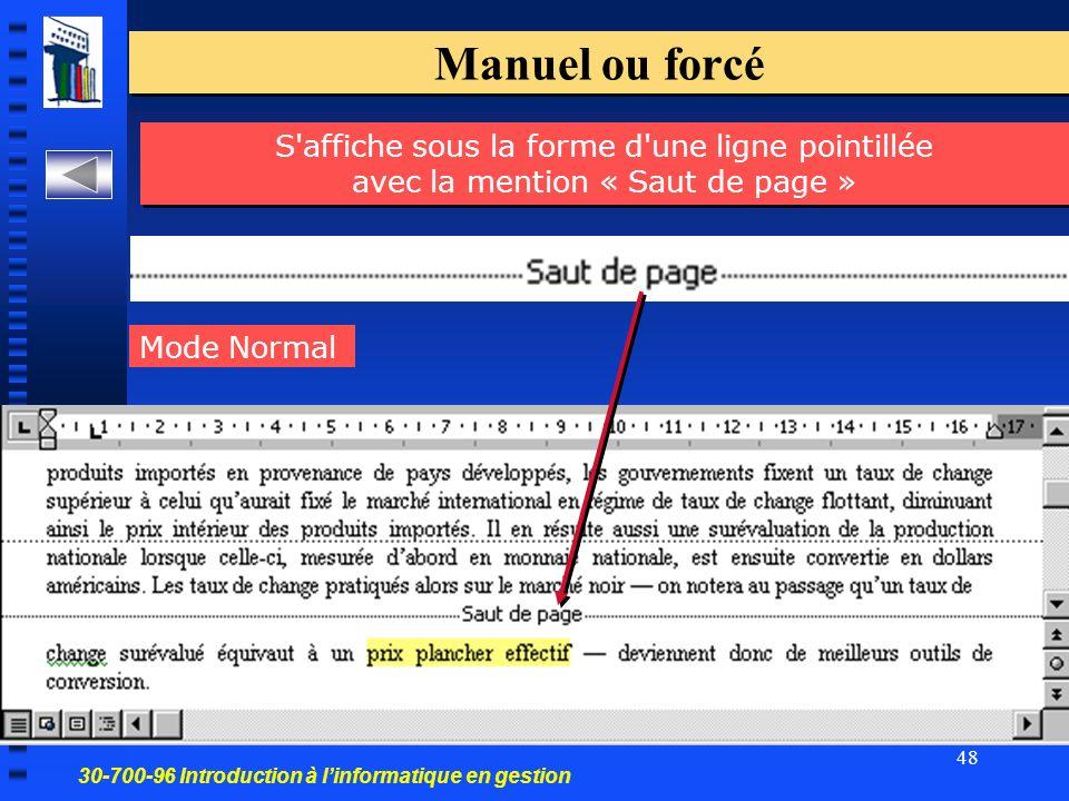 30-700-96 Introduction à linformatique en gestion 48 Manuel ou forcé S affiche sous la forme d une ligne pointillée avec la mention « Saut de page » Mode Normal