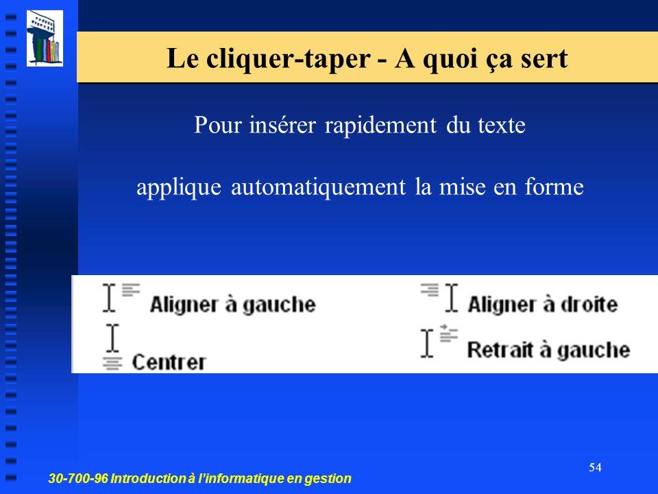 30-700-96 Introduction à linformatique en gestion 54 Le cliquer-taper - A quoi ça sert Pour insérer rapidement du texte applique automatiquement la mise en forme