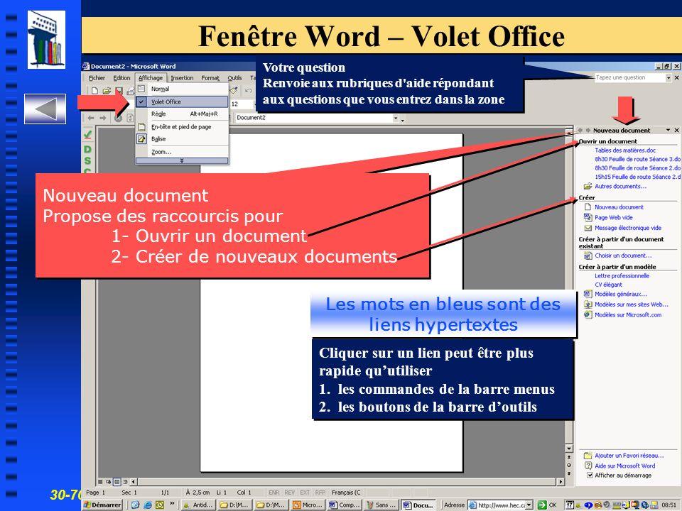 30-700-96 Introduction à linformatique en gestion 7 Fenêtre Word – Volet Office Nouveau document Propose des raccourcis pour 1- Ouvrir un document 2- Créer de nouveaux documents Les mots en bleus sont des liens hypertextes Cliquer sur un lien peut être plus rapide quutiliser 1.