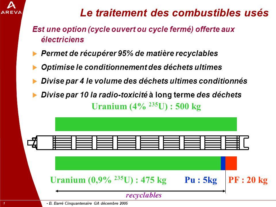 - B. Barré Cinquantenaire GA décembre 2005 1 Le traitement des combustibles usés Est une option (cycle ouvert ou cycle fermé) offerte aux électriciens