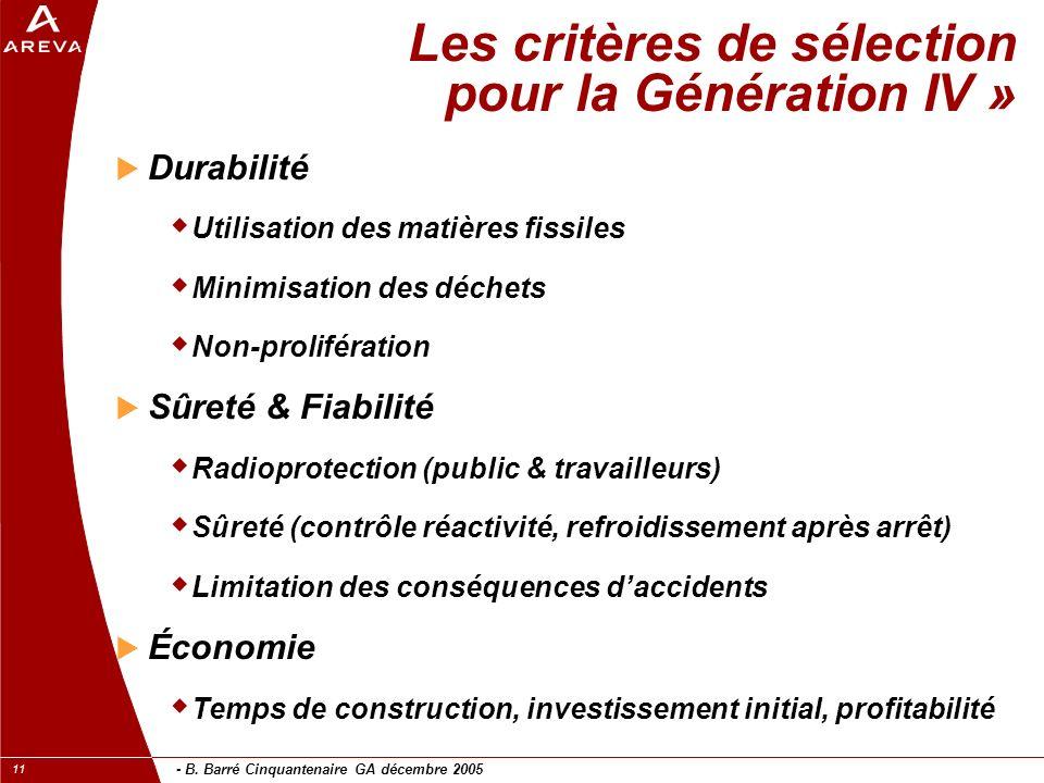 - B. Barré Cinquantenaire GA décembre 2005 11 Les critères de sélection pour la Génération IV » Durabilité Utilisation des matières fissiles Minimisat