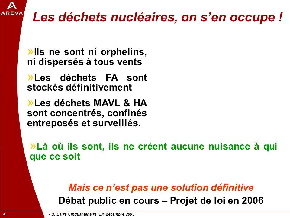 - B. Barré Cinquantenaire GA décembre 2005 4 Les déchets nucléaires, on sen occupe ! » Ils ne sont ni orphelins, ni dispersés à tous vents » Les déche