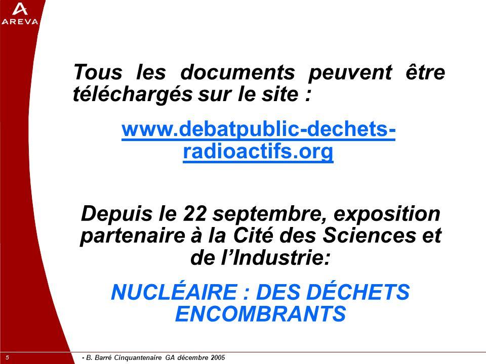 - B. Barré Cinquantenaire GA décembre 2005 5 Tous les documents peuvent être téléchargés sur le site : www.debatpublic-dechets- radioactifs.org Depuis