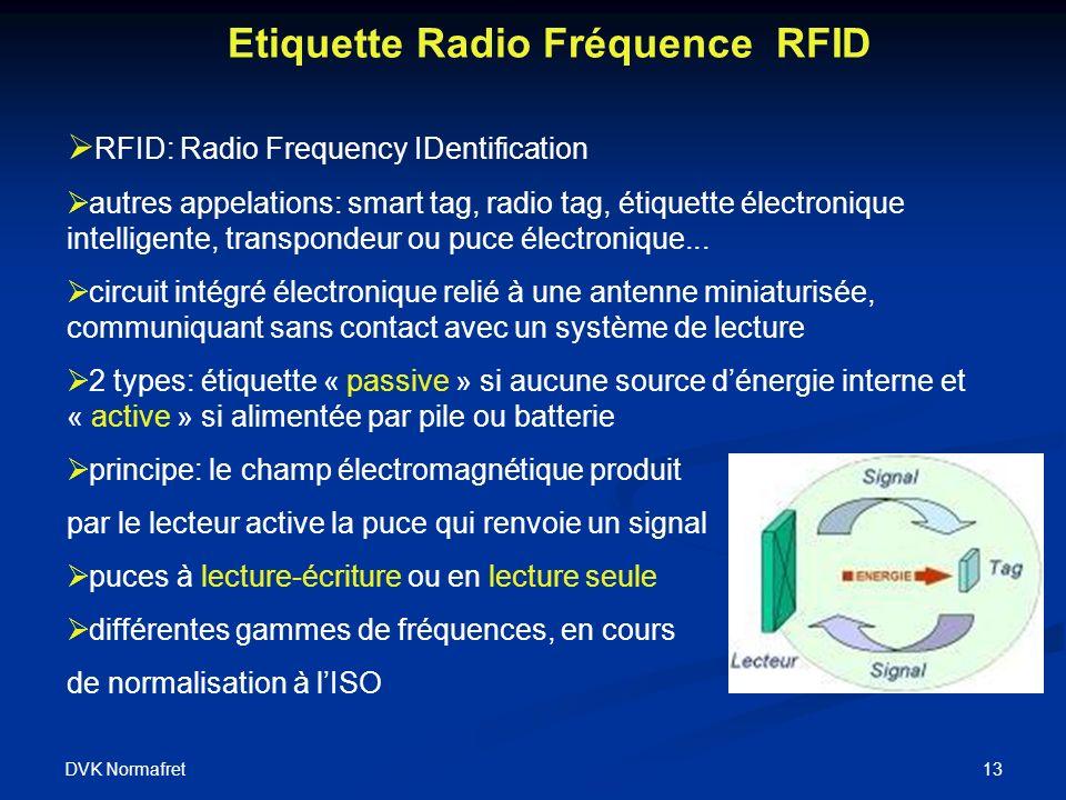 DVK Normafret 13 Etiquette Radio Fréquence RFID RFID: Radio Frequency IDentification autres appelations: smart tag, radio tag, étiquette électronique intelligente, transpondeur ou puce électronique...
