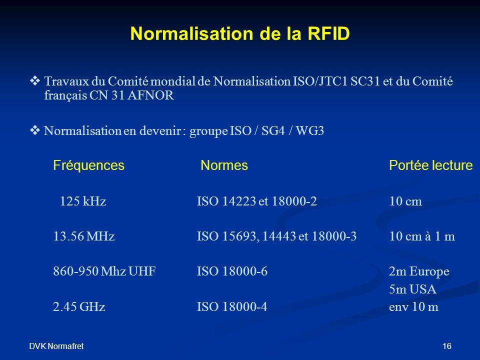 DVK Normafret 16 Normalisation de la RFID Travaux du Comité mondial de Normalisation ISO/JTC1 SC31 et du Comité français CN 31 AFNOR Normalisation en devenir : groupe ISO / SG4 / WG3 Fréquences Normes Portée lecture 125 kHz ISO 14223 et 18000-210 cm 13.56 MHzISO 15693, 14443 et 18000-310 cm à 1 m 860-950 Mhz UHFISO 18000-62m Europe 5m USA 2.45 GHzISO 18000-4env 10 m