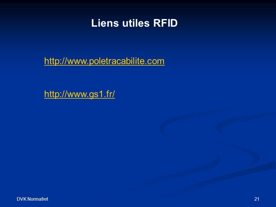 DVK Normafret 21 Liens utiles RFID http://www.poletracabilite.com http://www.gs1.fr/