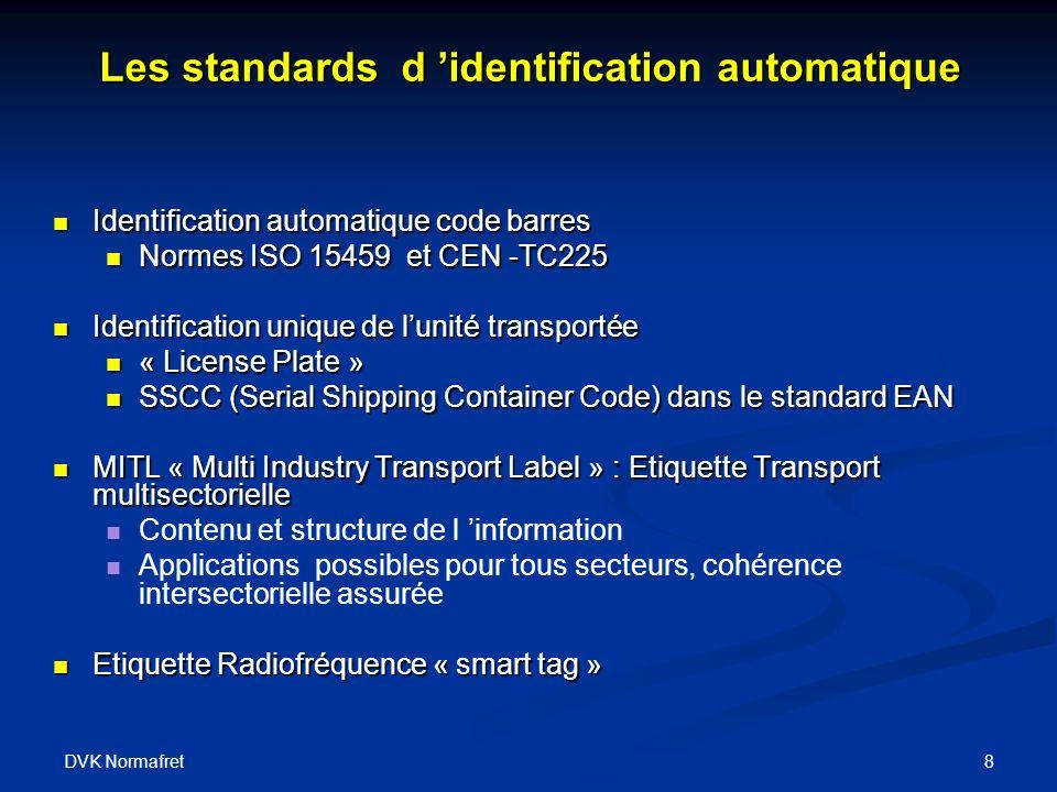 DVK Normafret 8 Identification automatique code barres Identification automatique code barres Normes ISO 15459 et CEN -TC225 Normes ISO 15459 et CEN -TC225 Identification unique de lunité transportée Identification unique de lunité transportée « License Plate » « License Plate » SSCC (Serial Shipping Container Code) dans le standard EAN SSCC (Serial Shipping Container Code) dans le standard EAN MITL « Multi Industry Transport Label » : Etiquette Transport multisectorielle MITL « Multi Industry Transport Label » : Etiquette Transport multisectorielle Contenu et structure de l information Applications possibles pour tous secteurs, cohérence intersectorielle assurée Etiquette Radiofréquence « smart tag » Etiquette Radiofréquence « smart tag » Les standards d identification automatique
