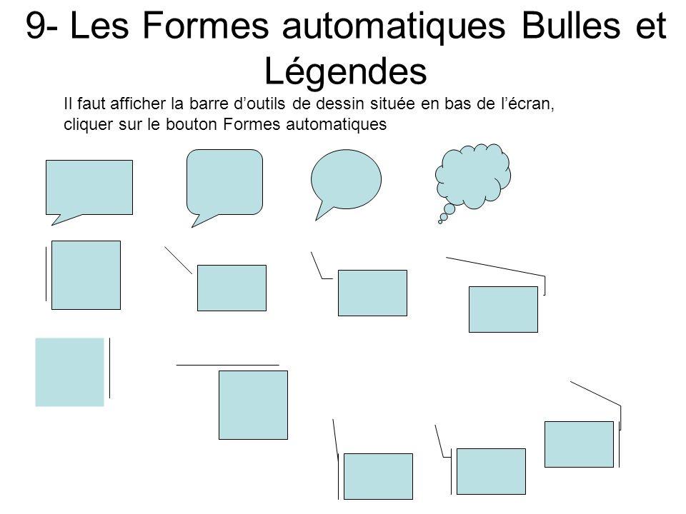 8- Les Formes automatiques Étoiles et Bannières Il faut afficher la barre doutils de dessin située en bas de lécran, cliquer sur le bouton Formes auto