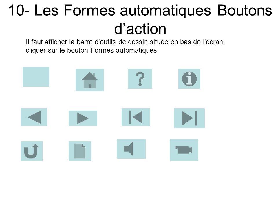 9- Les Formes automatiques Bulles et Légendes Il faut afficher la barre doutils de dessin située en bas de lécran, cliquer sur le bouton Formes automa