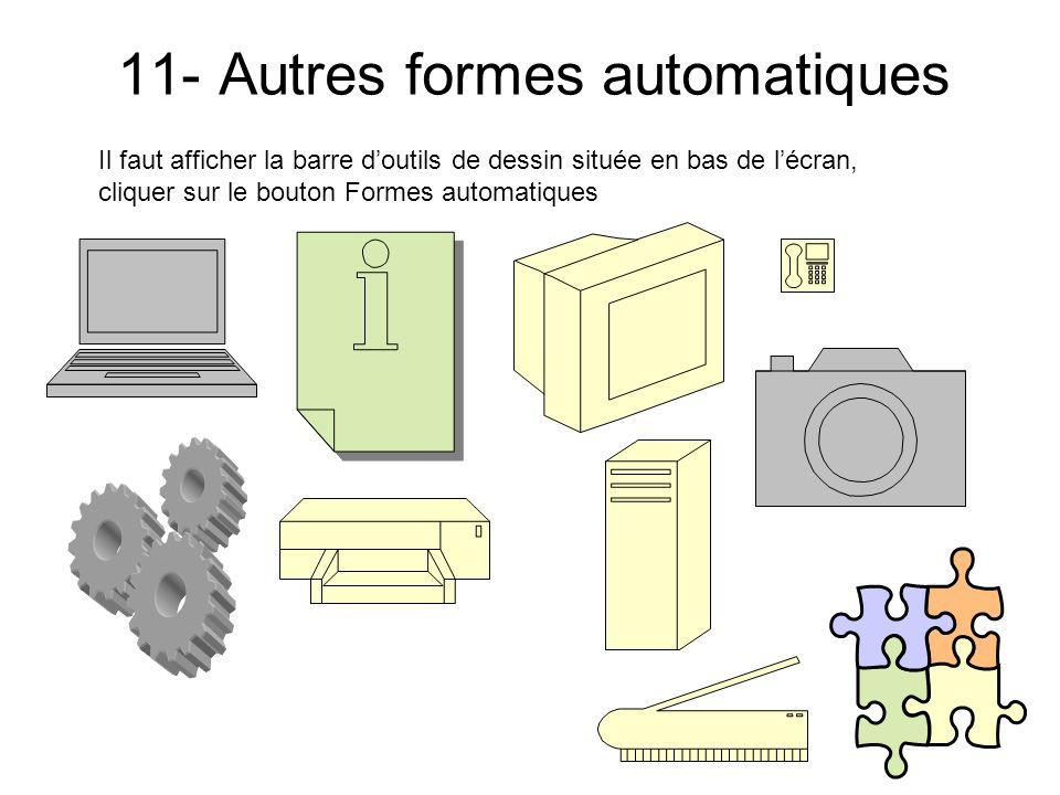 10- Les Formes automatiques Boutons daction Il faut afficher la barre doutils de dessin située en bas de lécran, cliquer sur le bouton Formes automati