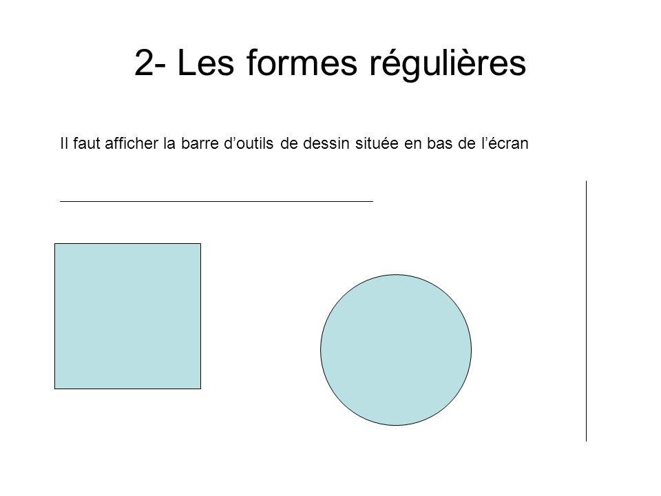 1- Les formes simples Il faut afficher la barre doutils de dessin située en bas de lécran