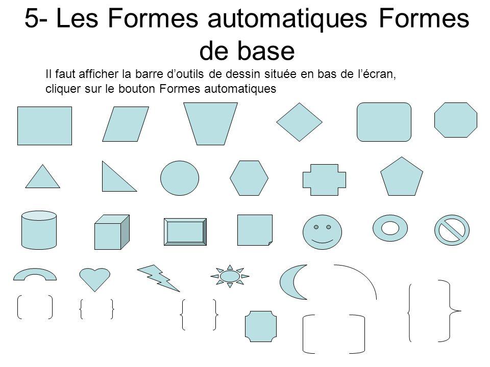 4- Les Formes automatiques Connecteurs Il faut afficher la barre doutils de dessin située en bas de lécran, cliquer sur le bouton Formes automatiques