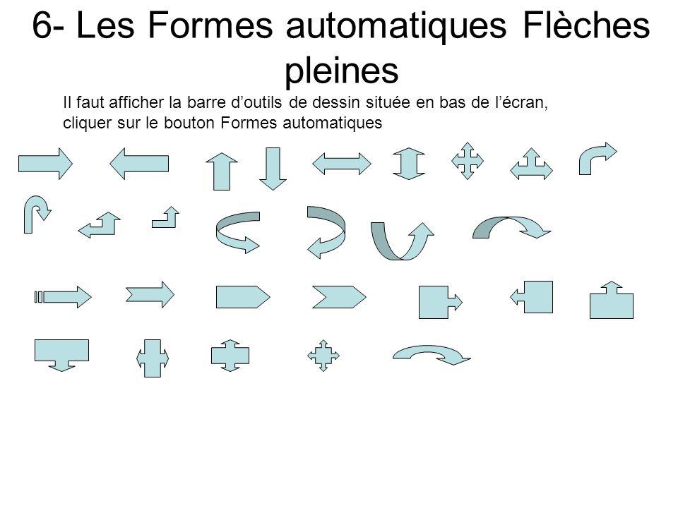 5- Les Formes automatiques Formes de base Il faut afficher la barre doutils de dessin située en bas de lécran, cliquer sur le bouton Formes automatiqu