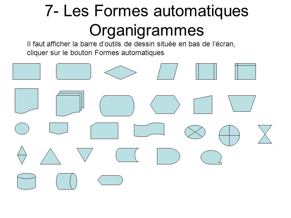 6- Les Formes automatiques Flèches pleines Il faut afficher la barre doutils de dessin située en bas de lécran, cliquer sur le bouton Formes automatiq