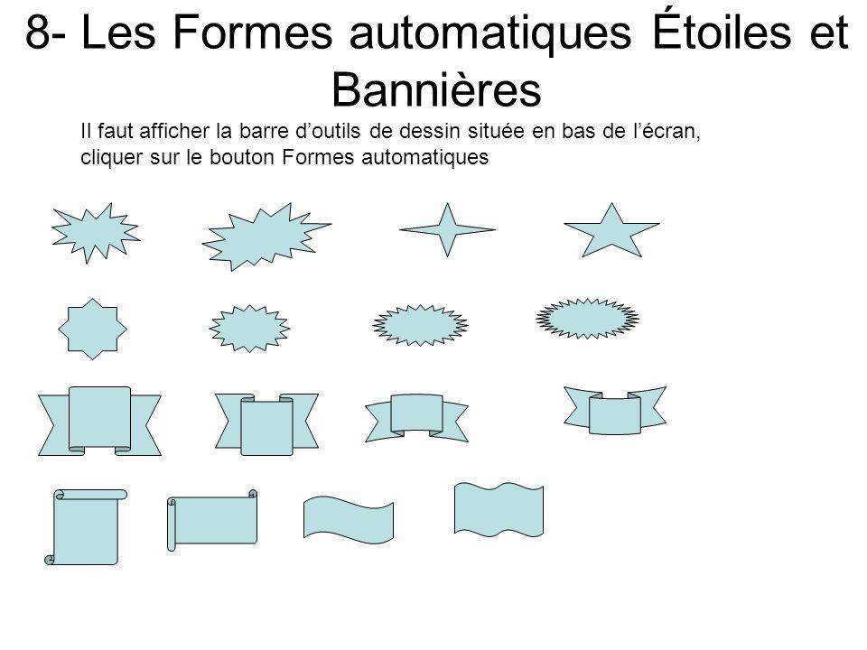 7- Les Formes automatiques Organigrammes Il faut afficher la barre doutils de dessin située en bas de lécran, cliquer sur le bouton Formes automatique