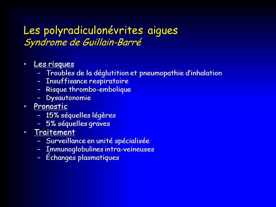 Les polyradiculonévrites aigues Syndrome de Guillain-Barré Les risques –Troubles de la déglutition et pneumopathie dinhalation –Insuffisance respirato