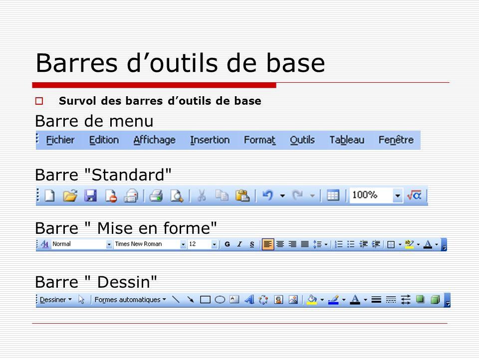 Barres doutils de base Survol des barres doutils de base Barre de menu Barre Standard Barre Mise en forme Barre Dessin