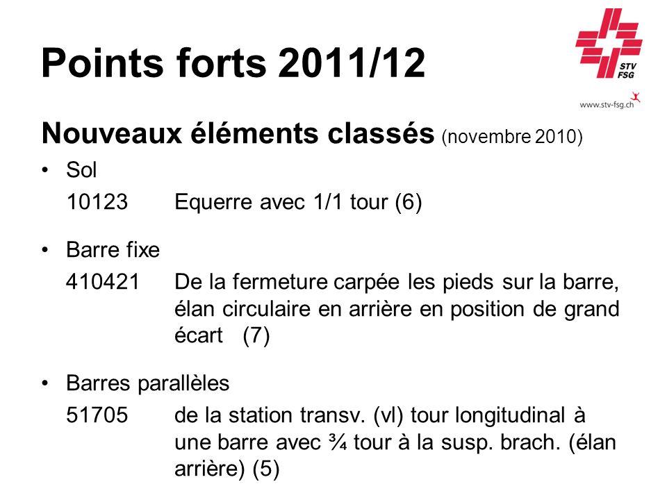 Points forts 2011/12 Nouveaux éléments classés (novembre 2010) Sol 10123 Equerre avec 1/1 tour (6) Barre fixe 410421De la fermeture carpée les pieds s