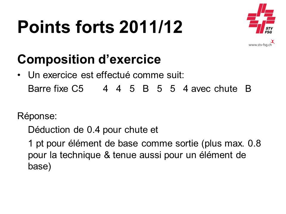 Points forts 2011/12 Composition dexercice Un exercice est effectué comme suit: Barre fixe C54 4 5 B 5 5 4 avec chute B Réponse: Déduction de 0.4 pour
