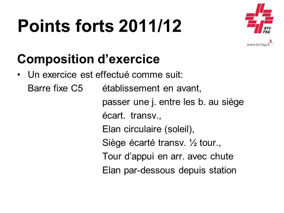 Points forts 2011/12 Composition dexercice Un exercice est effectué comme suit: Barre fixe C5établissement en avant, passer une j. entre les b. au siè