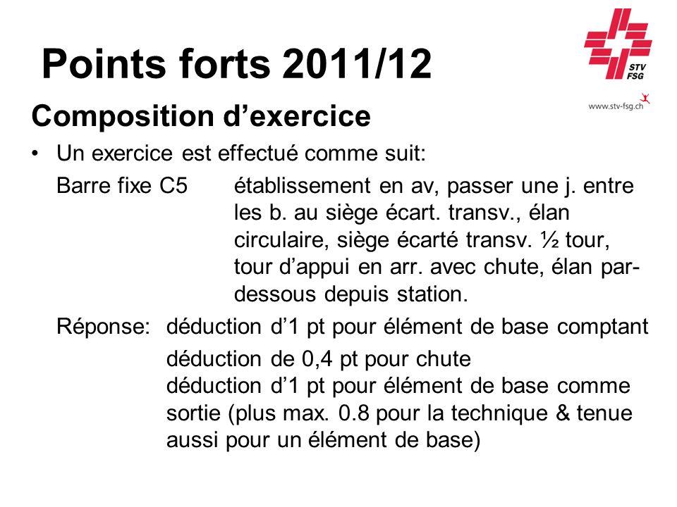 Points forts 2011/12 Composition dexercice Un exercice est effectué comme suit: Barre fixe C5 établissement en av, passer une j. entre les b. au siège