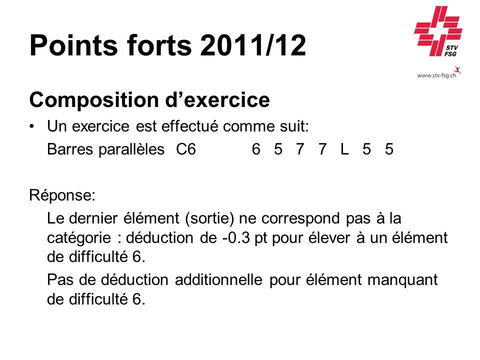 Points forts 2011/12 Composition dexercice Un exercice est effectué comme suit: Barres parallèles C6 6 5 7 7 L 5 5 Réponse: Le dernier élément (sortie
