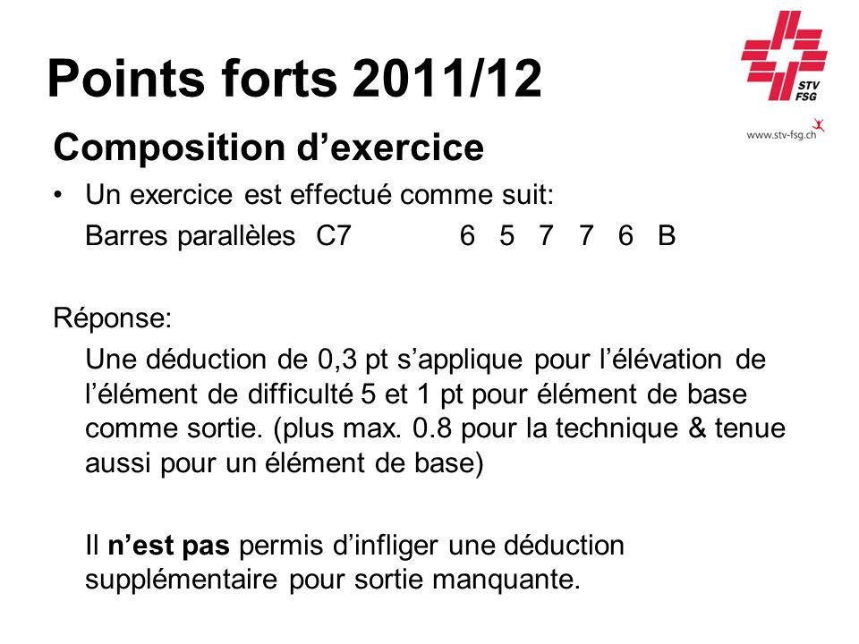 Points forts 2011/12 Composition dexercice Un exercice est effectué comme suit: Barres parallèles C7 6 5 7 7 6 B Réponse: Une déduction de 0,3 pt sapp
