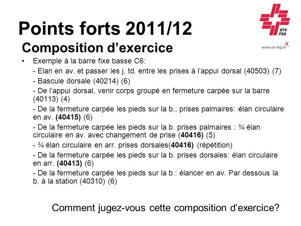 Points forts 2011/12 Composition dexercice Exemple à la barre fixe basse C6: - Elan en av. et passer les j. td. entre les prises à lappui dorsal (4050