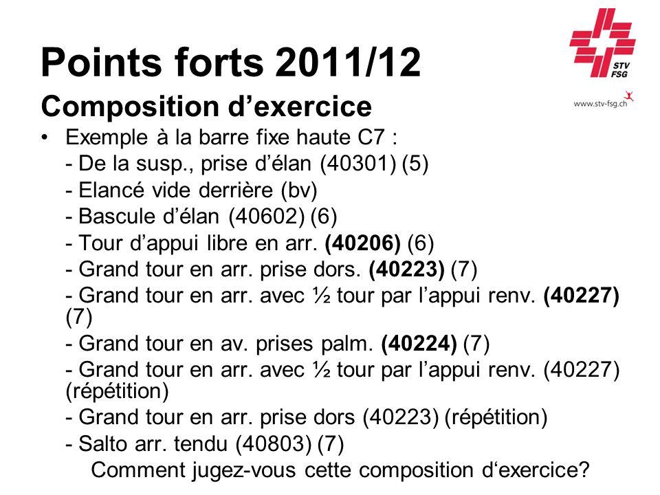 Points forts 2011/12 Composition dexercice Exemple à la barre fixe haute C7 : - De la susp., prise délan (40301) (5) - Elancé vide derrière (bv) - Bas