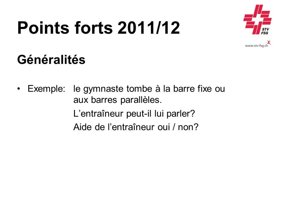 Points forts 2011/12 Composition dexercice Un exercice est effectué comme suit: Barres parallèles C6 6 5 7 7 L 5 5 Réponse: Le dernier élément (sortie) ne correspond pas à la catégorie : déduction de -0.3 pt pour élever à un élément de difficulté 6.
