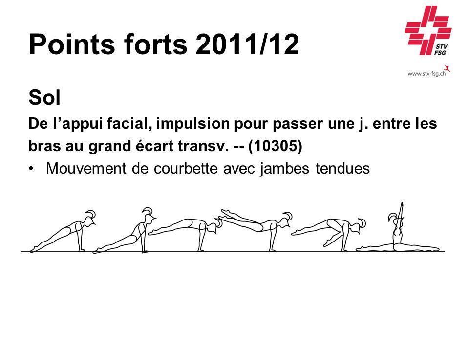 Points forts 2011/12 Sol De lappui facial, impulsion pour passer une j. entre les bras au grand écart transv. -- (10305) Mouvement de courbette avec j